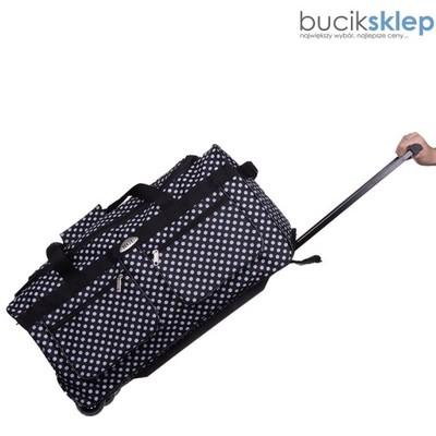 635d4a804df19 Torba podróżna kółka grochy średnia bagaż samolot - 6336172477 ...