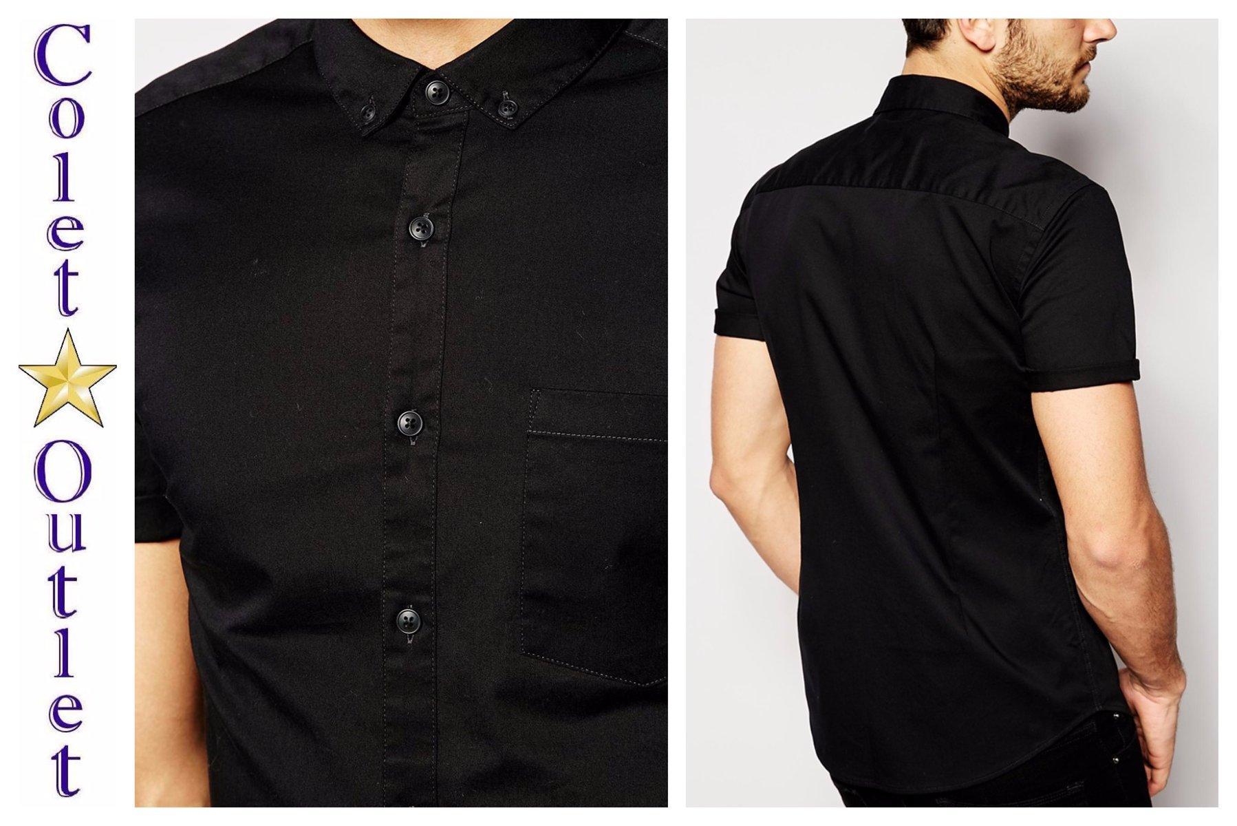 mp13 koszula czarna skinny krótki rękaw bawełna S