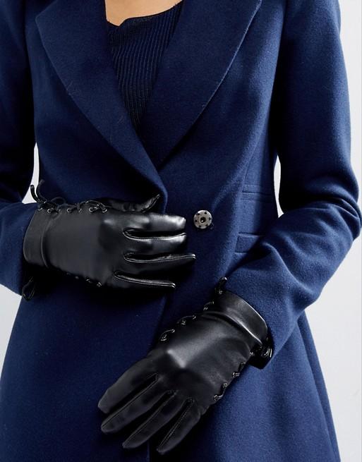 ASOS Skórzane Czarne Sznurowane Rękawiczki Prezent