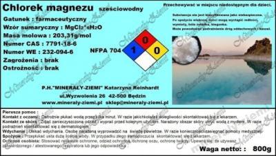 CHLOREK MAGNEZU 6H2O farmaceutyczny 800g spożywczy