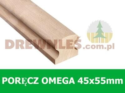 Poręcz, pochwyt drewniana OMEGA 45x55mm DĄB