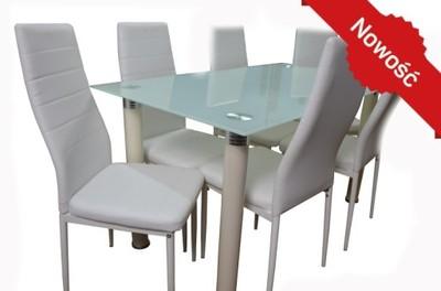 Biały Szklany Stół Krzesła 6szt 6742587287 Oficjalne