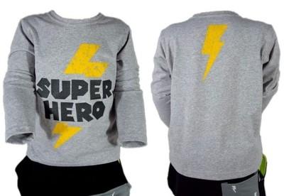 SUPER HERO SZARA BLUZKA T-SHIRT  HOLO KIDS 134