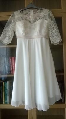 Sukienka ślubna Ciążowa Krótka Ecru 3638 Koronka 6821032123