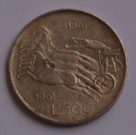 Włochy, 500 lirów 1961, kwadryga, srebro