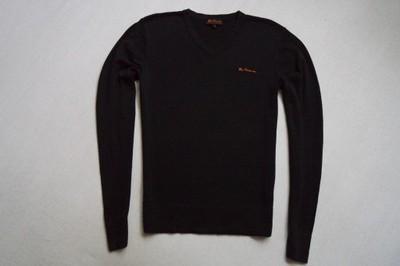 BEN SHERMAN sweter sweterek czarny logowany____S/M