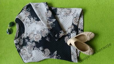 Bluza pikowana Kwiaty MANGO