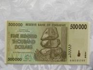 ZIMBABWE 500 000 DOLLARS 2008 r. St. ( UNC )