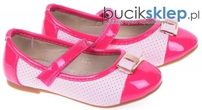 Baleriny Dziewczęce rzepy 1BL-235 Różowe Fuksja 24