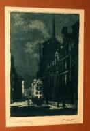 Gdańsk nokturn, grafika, sygnowana Probst