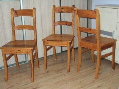 Krzesła Drewniane Do Kuchni Salonu 3 Sztuki Lakier