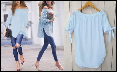 6cd9b62f Bluzka Koszula HISZPANKA Odkryte Ramiona BABY BLUE - 6432994594 ...