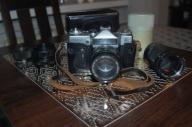Zenit aparat analogowy + obiektywy. Zestaw