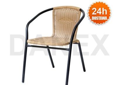 Krzesło Ogrdowe Balkonowe Metalowo Ratanowe Bistro
