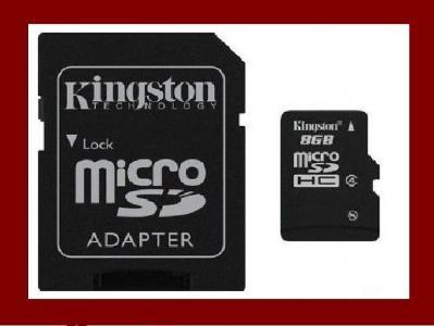 KINGSTON  MICROSD  8 GB MICRO  + ADAPTER SD 24H