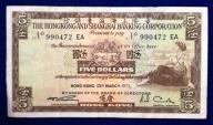 Hong Kong 5 Dollars 1972 r. 297/11