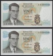 189.BELGIA - LOT 2 SZT. 20 FRANKÓW -1964 , st.UNC-