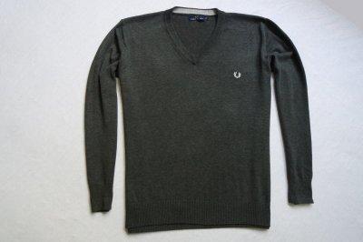 FRED PERRY sweter sweterek szary logowany modny_XL