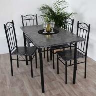 119 Stół 4 krzesła zestaw do kuchni jadalni czarny