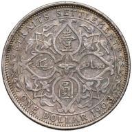 606. Straits Settlements Malezja 1 dollar 1903