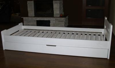 Młodzieńczy białe łóżko drewniane z szuflada 90x200 wzór IKEA - 5659547066 HQ48