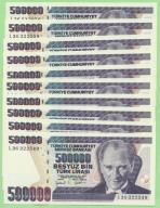 Turcja , 10 x 500 000 Lirasi 1998/1970 , P212, UNC