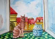 Kot i przyjaciel , akwarela 24x32