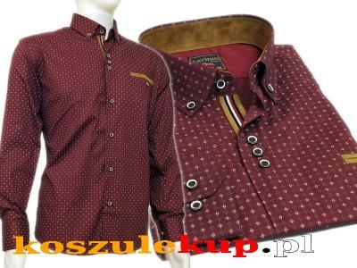 4243 XL Bordowa koszula męska CASUAL Slim Fit 5584893248  MPz4b