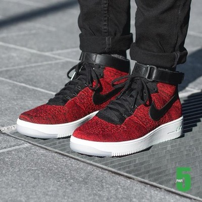 buty nike air force 1 low flyknit bordowe czarne