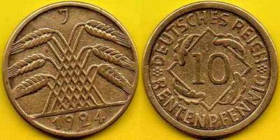 NIEMCY  10 Rentenpfennig  1924 r  J