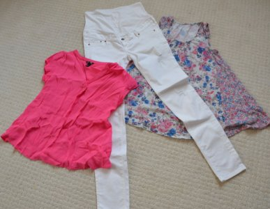 Spodnie ciążowe MAMA  H&M  i dwie bluzki