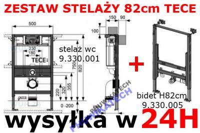Tece Stelaz Wc 82cm Bidetu Zestaw Podtynkowy Niski 2735363482