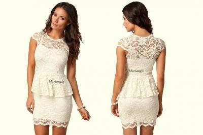 86593d92ad KREMOWA sukienka ASOS koronka WESELE 36 S - 3508538145 - oficjalne ...