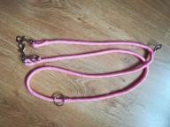 Różowa smycz 2m regulowana dla psa z odblaski