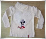 Sweterek ciepły biały zima Disney Minnie 98/104