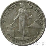 20 CENTAVOS 1945- FILIPINY - 4g Ag750 -STAN 3 -NR3