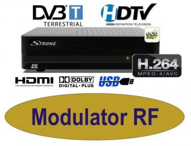 Dekoder Strong SRT8113 DVB-T HD Modulator + kabel
