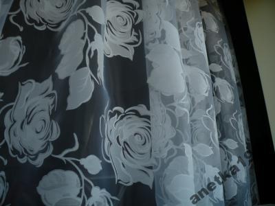 Organtyna Wypalana Nowość Duży Wzór W Róże Biel