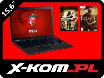 Laptop MSI GE60 2OE i7 8GB 1TB GTX765 2GB FHD +Gry