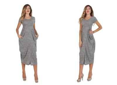 cb120d3020 Sukienka maxi dresowa szara z wzorem L XL