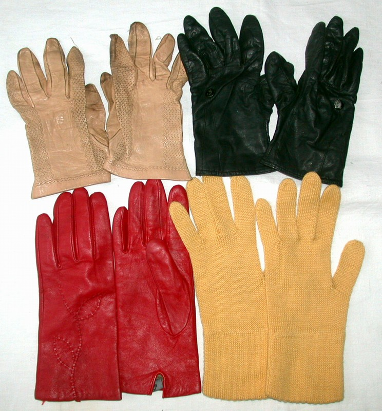Zestaw 4x damskie rękawiczki skóra dzianina OKAZJA