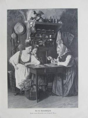 KARTY WRÓŻENIE Z KART KOBIETY rycina 1907 r.