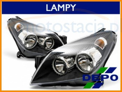 Depo Reflektory Lampy Przód Opel Astra H Czarne 6493944812