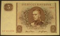 Szwecja - 5 koron - 1963 - stan bankowy - UNC -