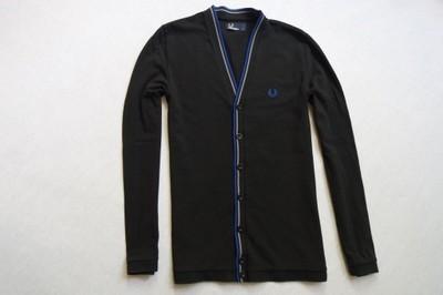 FRED PERRY sweter sweterek czarny logowany__XXS/XS