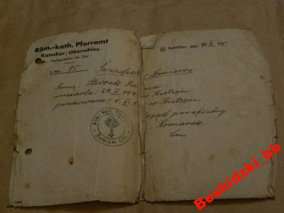 Katscher Kietrz świadectwo śmierci 1945