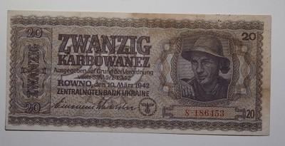 Ukraina Rowno 20 KARBOWANEZ 1942 RARYTAS Stan 2+