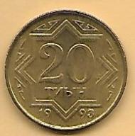KAZACHSTAN - 20 TIYN - 1993 ŻÓŁTA