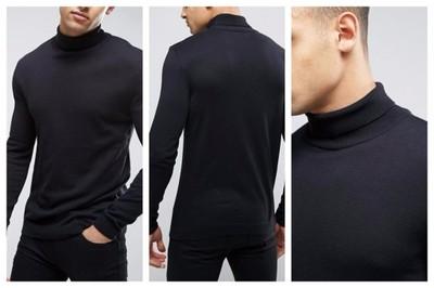 mm91 sweter męski czarny golf bawełniany XS