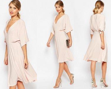 d4a672a3b8 ASOS sukienka pudrowy róż dekold V 36 S - 6476855459 - oficjalne ...